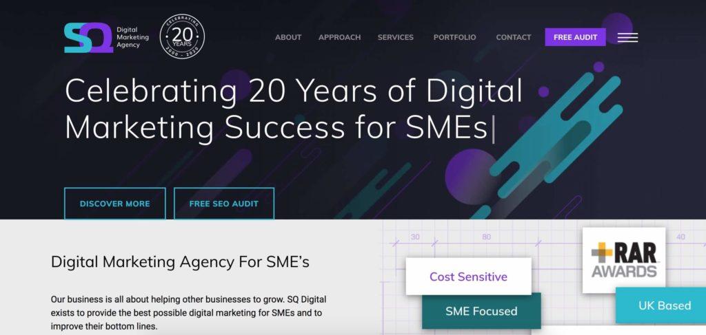 Sq digital B2B SEO agency homepage